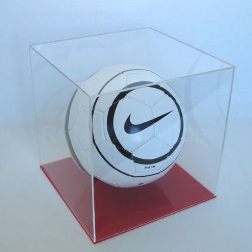 Football Display Case with Red Base